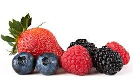 Mixed berries on white background
